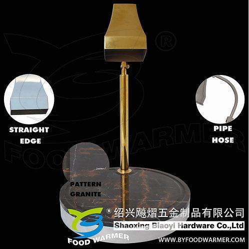Golden tetrahedron heat lamp pattern granite round base carving station