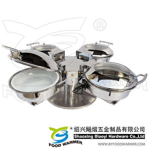 Table top combo rotating chafing station 4-Mini round chafers