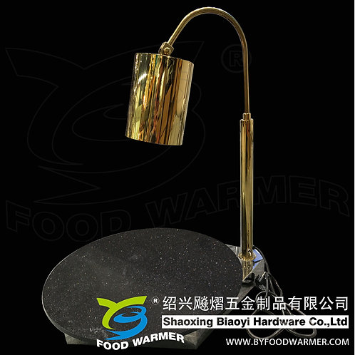 Golden 1-lamp black galaxy granite base heat lamp cutlinary station