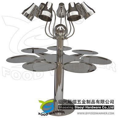Combo rotating heat lamp serving station 7-Trays