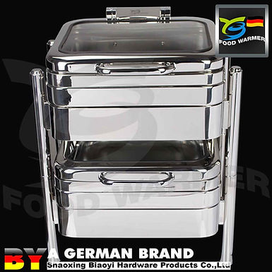 Electric Heating GN2/3 Square Chafing Dish with Machanical Hinge Lid System