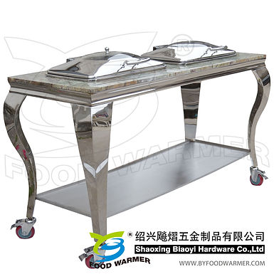 Granite top mobile dual oblong chafers station