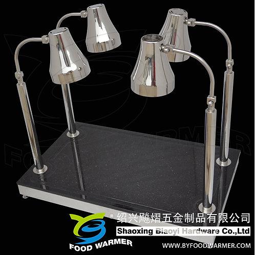4-Lamp rectangle black granite base heat lamp carving station
