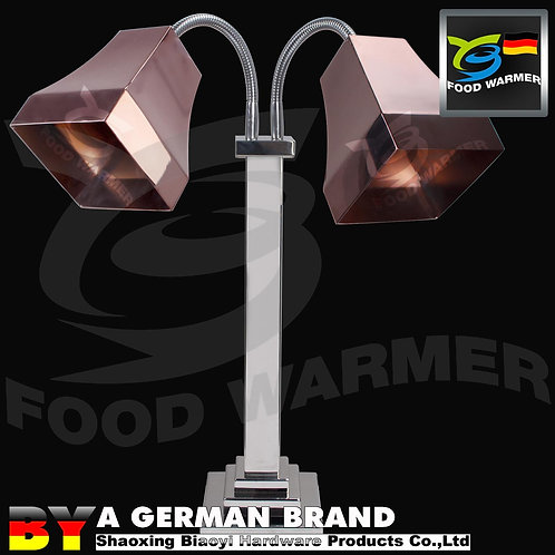 Copper Color Heat Lamp with Dual Lamp Shade for Food Preparation and Service