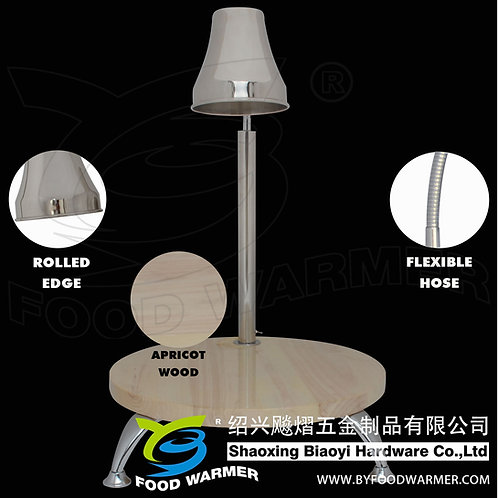1-Lamp round wood base heat lamp carving station