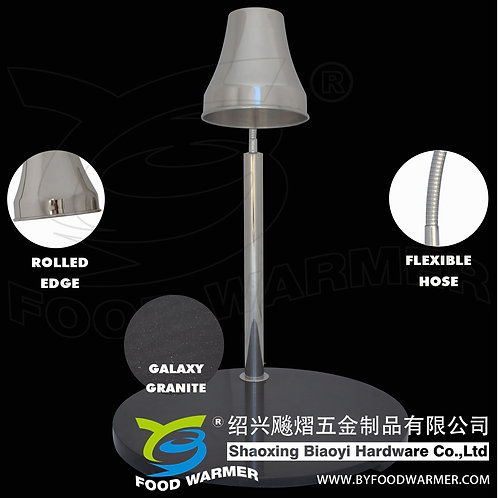 1-Lamp round granite base heat lamp carving station