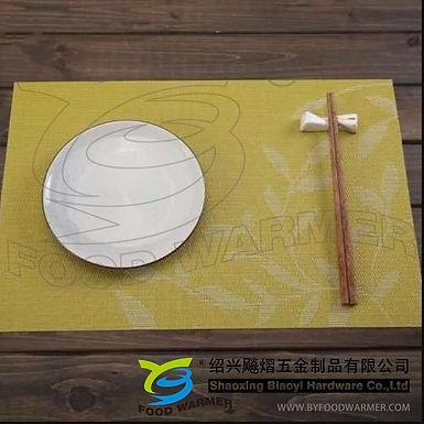 Green leaves pattern textilene place mat