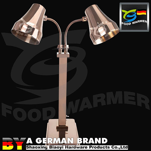 Heavy Duty Dual 60°C Infrared Heat Lamp of One Piece Copper Color for Buffet