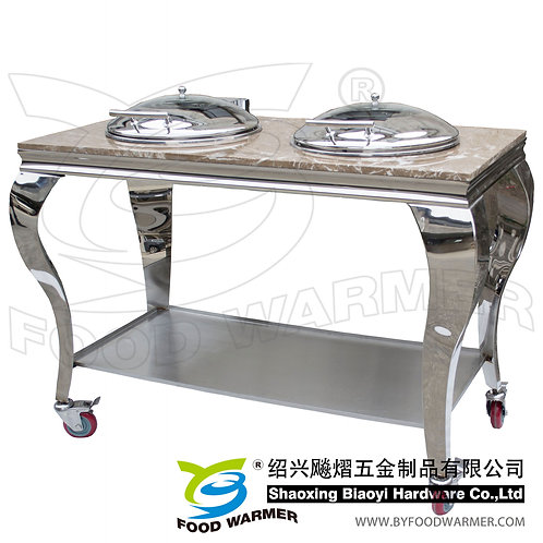 Granite top mobile dual round chafer station
