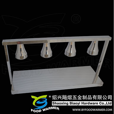 Un-adjustable 4-Lamp stainless steel horizontal base food warmer