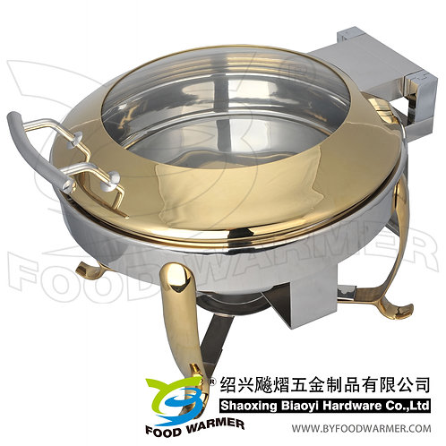 Golden mini round electric heating chafing dish
