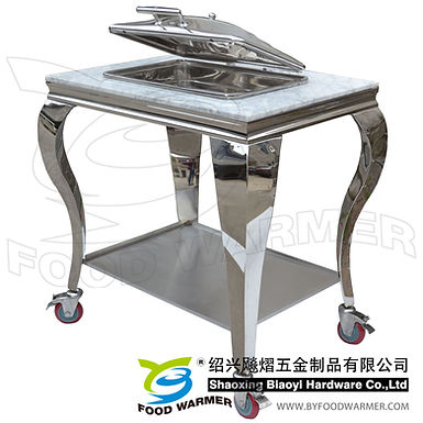 Granite top mobile oblong chafer station