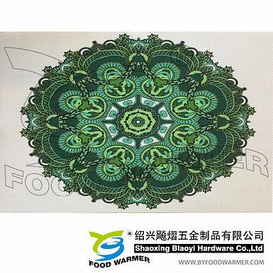 Green artascope pattern textilene dinner mat