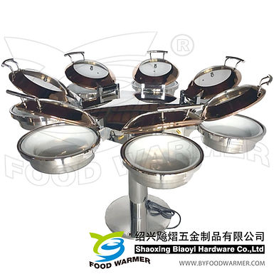 Combo rotating chafing station 7-Mini  round chafing dishes