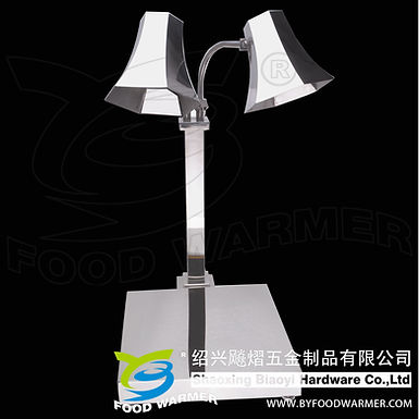 Hexahedron 2-Lamp stainless steel vertical base food warmer