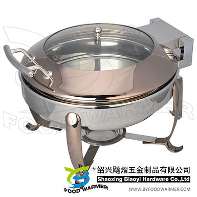 Copper colored standard round electric heating chafer