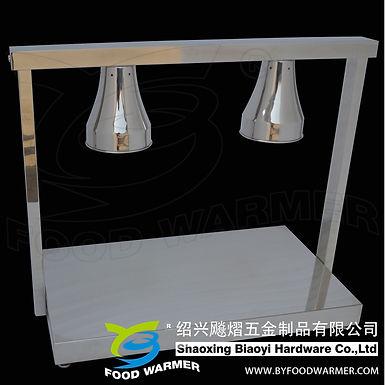 Un-adjustable 2-Lamp stainless steel horizontal base food warmer