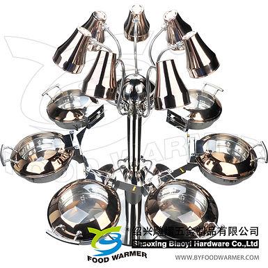 Combo rotating heat lamp chafing station 7-Mini round chafers