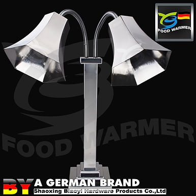 Dual SS304 Hexahedral Lamp Shade Staged Base Electric Heating Food Warmer