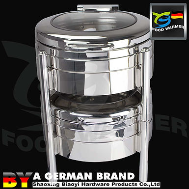 Stackable SS304 Electric Heating Chafing Dish of 6L Round Shape Plane Lid