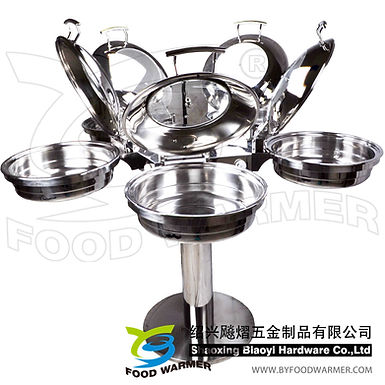 Combo rotating chafing station 5-Standard round chafing dishes