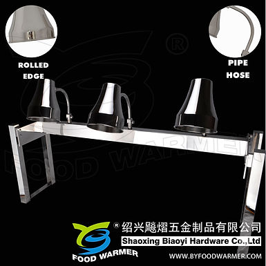 3-Lamp stainless steel no-base heat lamp station