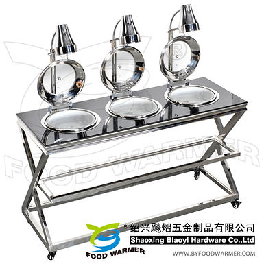 Dual heating system mobile chafing station