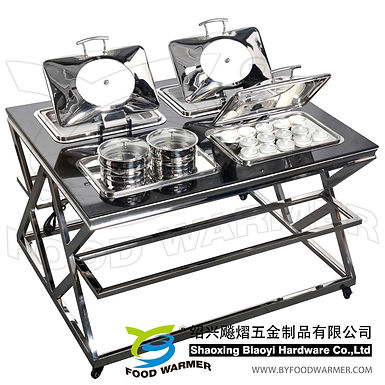 4 oblong customized combo mobile chafing station