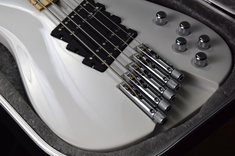 Taisto Guitars iZEN-5MS HL headless bass with fanned frets and ABM hardware