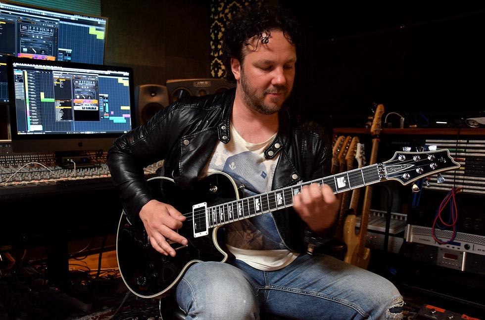 Jimmy Westerlund (One Desire) plays AROK-FR Shadowman custom guitar in his studio