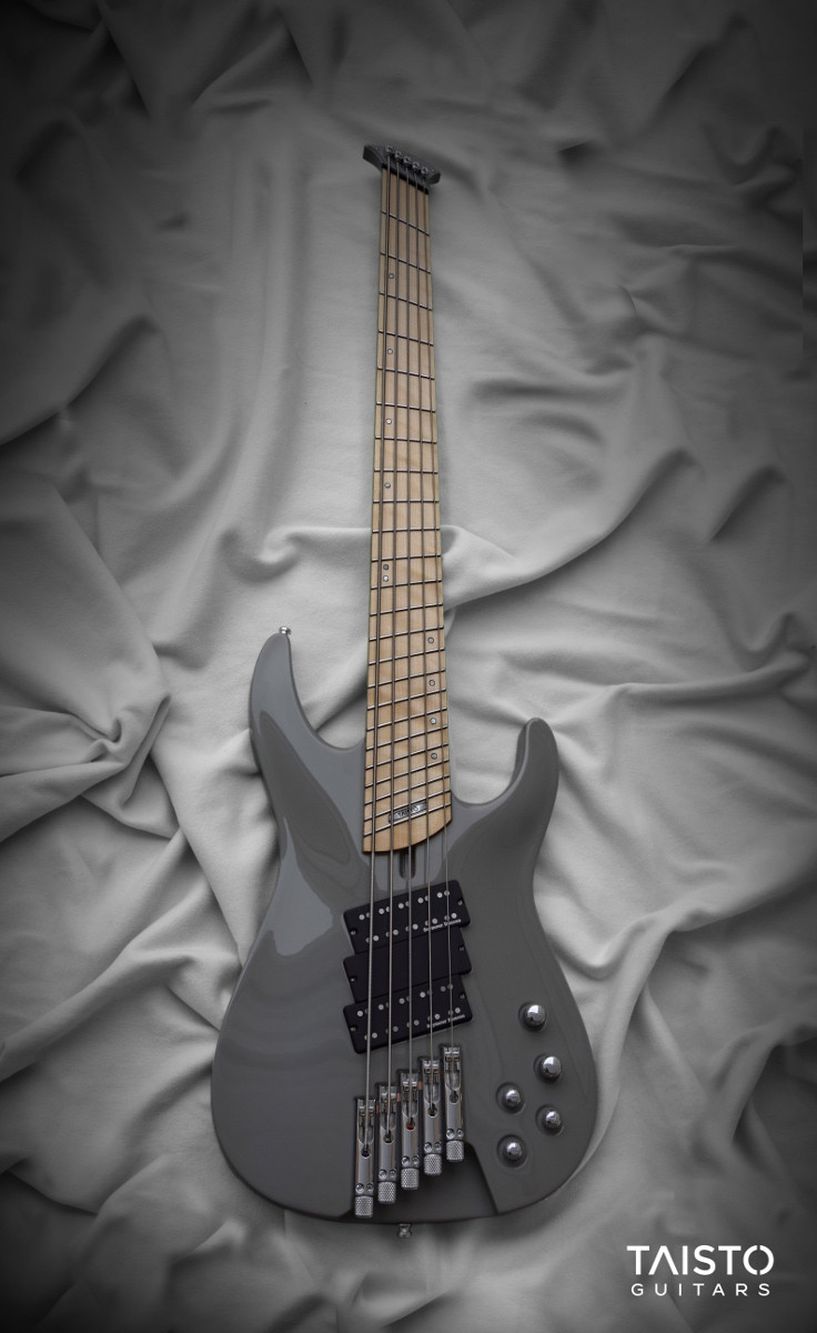 Front view Jonas Kuhlberg iZEN-5MS-HL bass guitar. Instrument is multi-scale headless gray colored  bass guitar