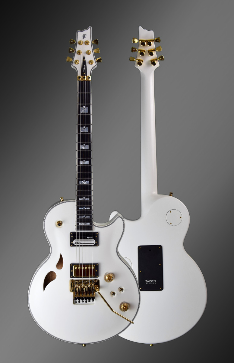 Taisto Guitars white AROK-FR Shadowman guitar views from front and back side