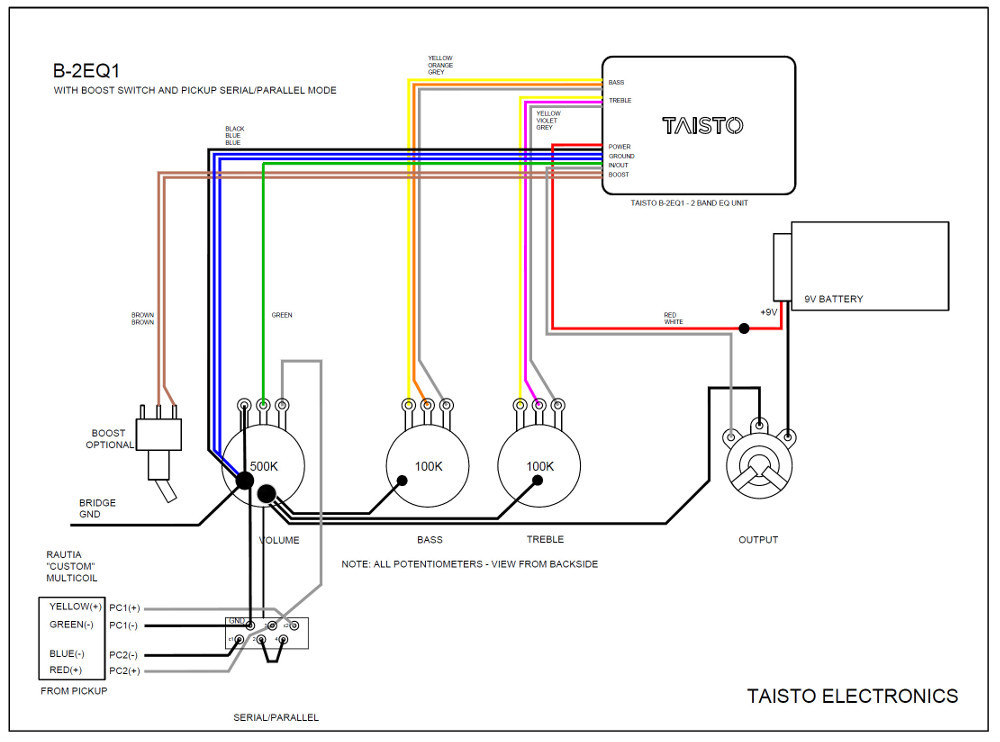 Example B-2EQ1 wiring schematic for one pickup