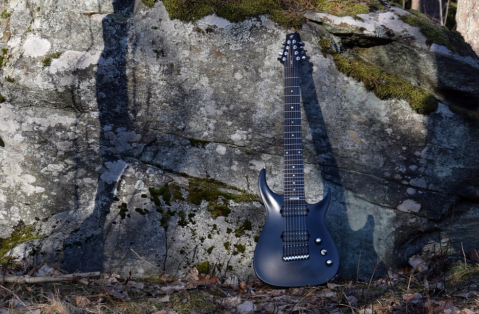 Taisto Guitars V25-FX8/H black custom guitar with satin finish