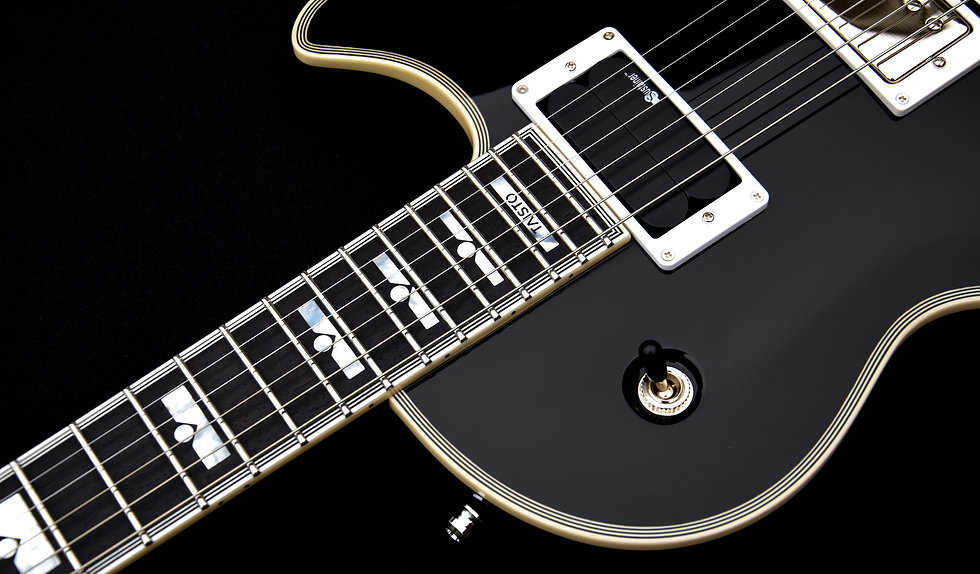 Taisto Guitars AROK-FR custom guitar customized with Fernandes sustainer system and Block-Dot custom inlay set on fretboard