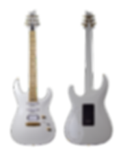 Taisto Guitars V25-FX ECM White. This guitar is customized with special birch fretboard and Bare Knuckle pickups