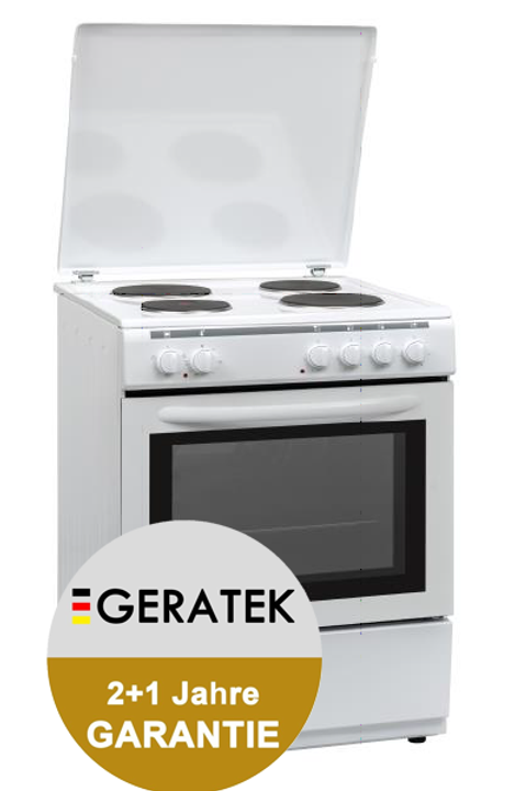 Geratek Tarent SH6000W 60cm Elektro-Standherd 60 cm weiß 72Liter Backofen
