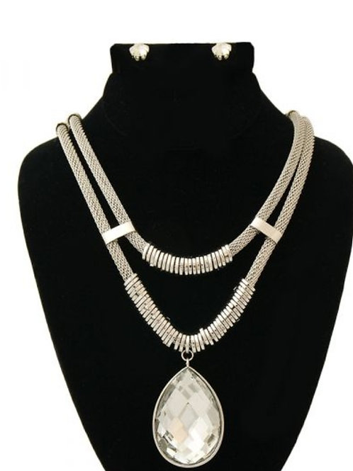 Double Rope Silver Necklace Set