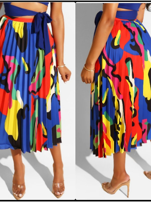 Just a Little Color Pleat Midi Skirt