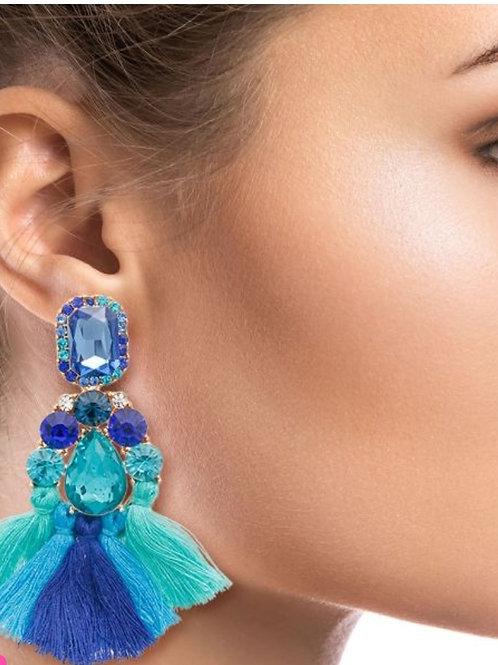 Blue Bling Fringe Earrings