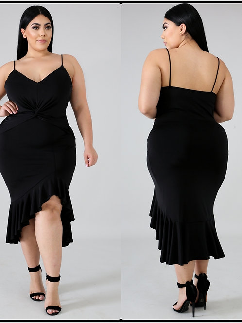 Cascading Black Midi Dress