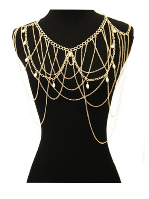 Gold and Pearl Body Chain