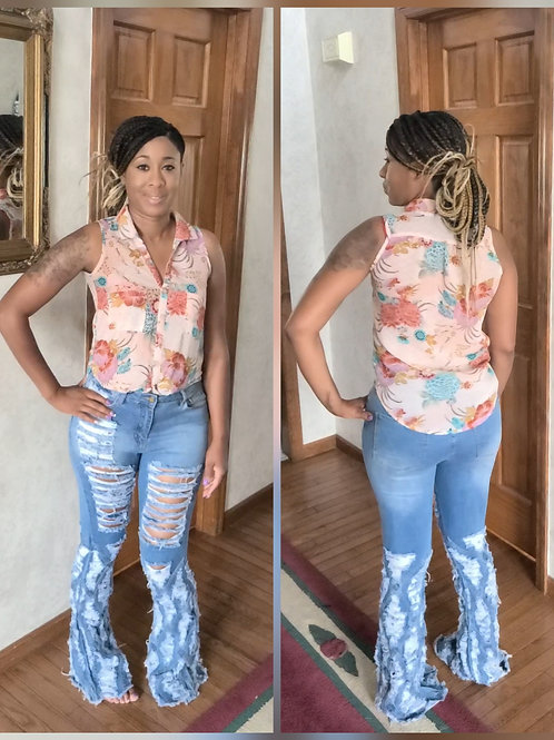 Wonderfully Made Ripped Flare Jeans