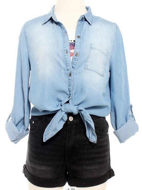 Sophia Front Tie Denim Top
