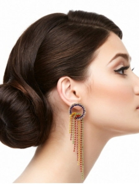 Multi Color Fringe Rhinestone Earrings