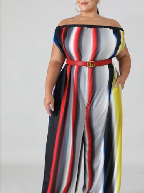 Off Shoulder Stripe Printed Jumpsuit W/ Pocket