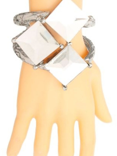Silver Square Crystal Bracelet