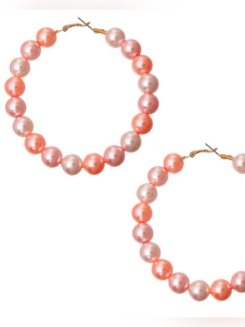 Pink Mix Pearl Hoops