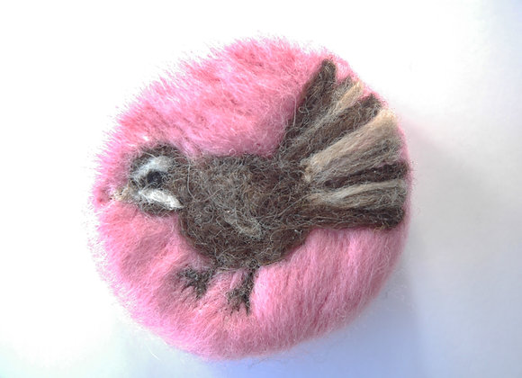 Felted Fantail on Pink Background