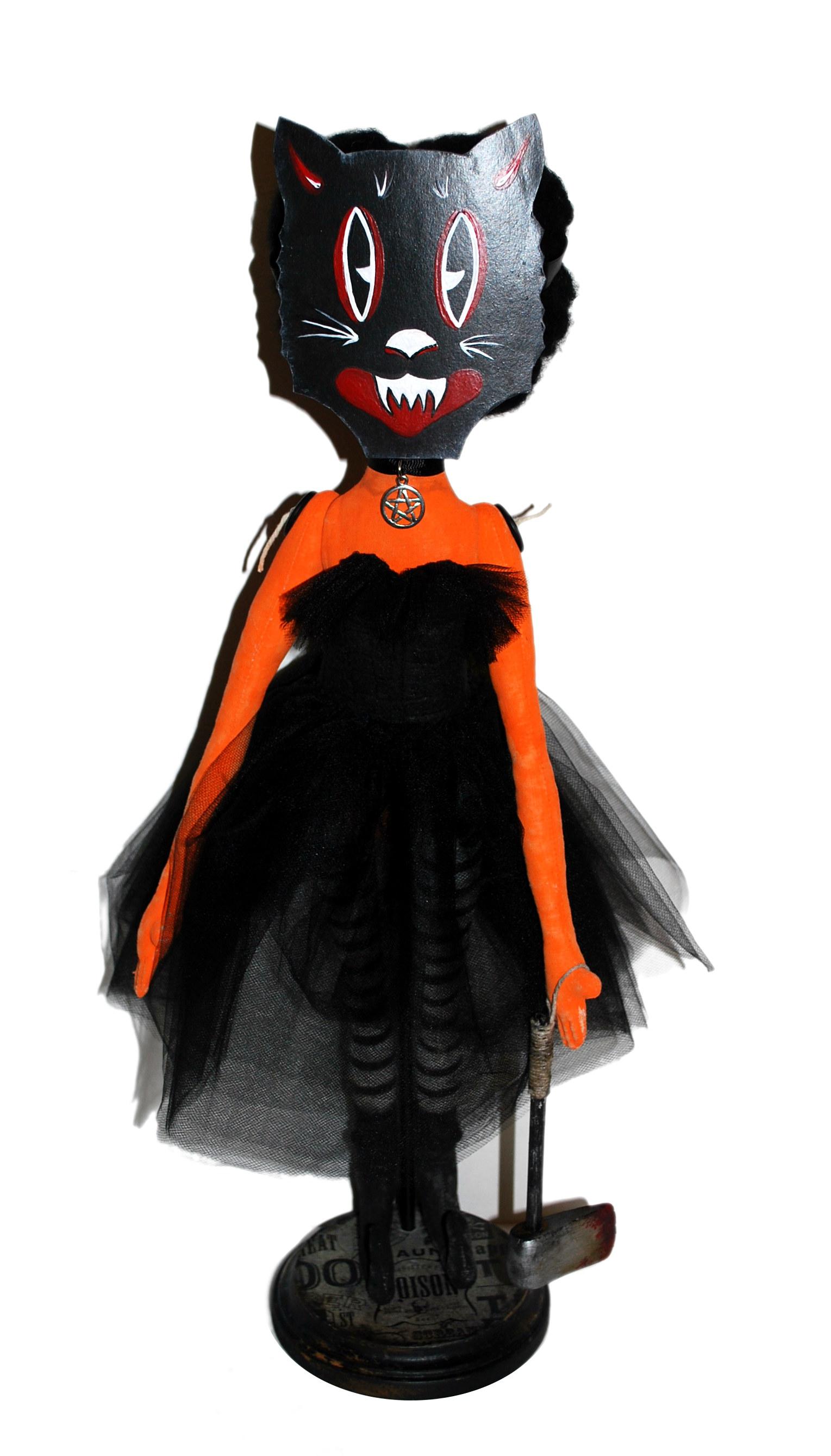 Masked Halloween Pumpkin Girl